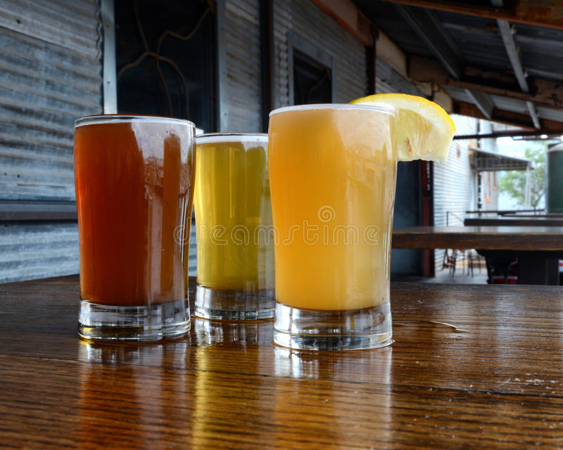 Craft Beer. Craft and microbrewed beer samples at a local small-scale brewery royalty free stock image