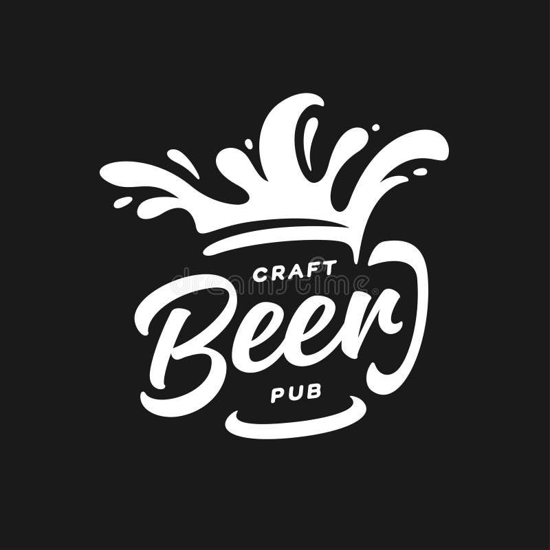 Craft beer pub typography. Vector vintage lettering illustration. Chalkboard design element for beer pub. Beer advertising vector illustration