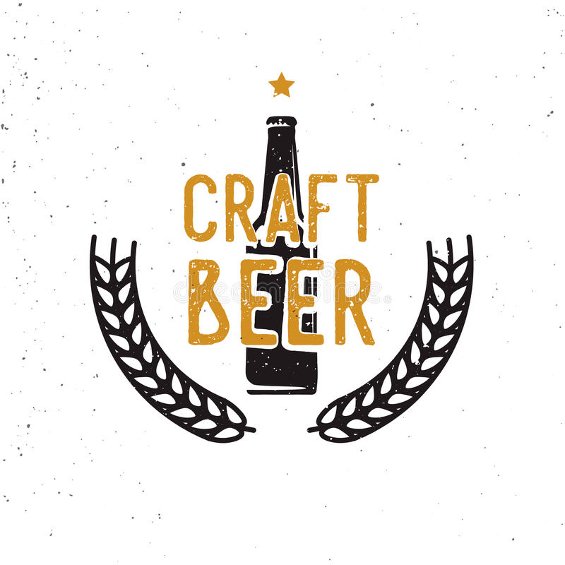 Craft beer 60s or 70s logotype, vintage style. Retro styled beer themed badge, label, symbol stock illustration