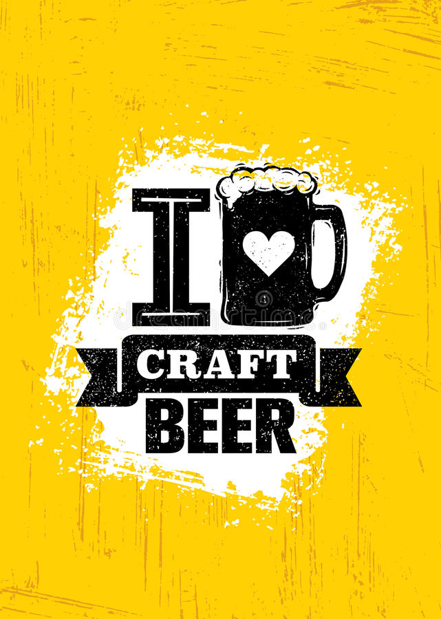 Craft Beer Sold Here Rough Banner. Vector Artisan Beverage Illustration Design vector illustration