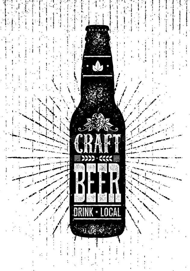 Craft Beer Sold Here Rough Banner. Vector Artisan Beverage Illustration Design Concept On Grunge Distressed Background vector illustration