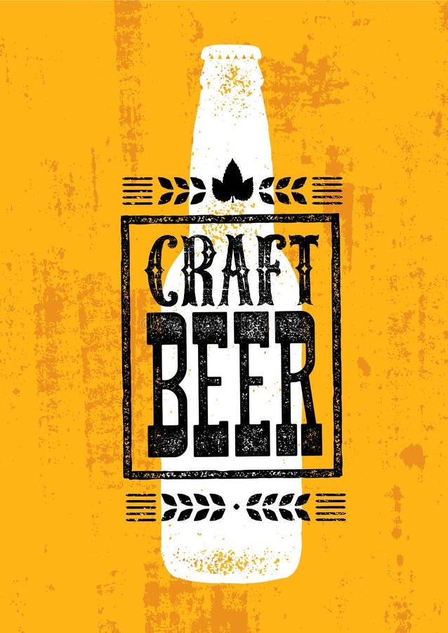 Craft Beer Sold Here Rough Banner. Vector Artisan Beverage Illustration Design Concept On Grunge Distressed Background stock illustration