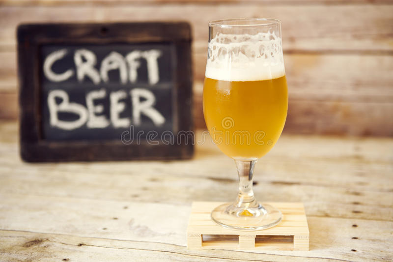 Craft Beer. On Wooden Table royalty free stock images