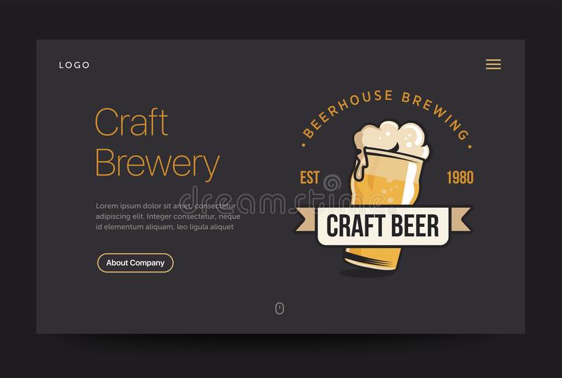 Craft Brewery Or Pub Website Template. Beer Glass Web Banner ...
