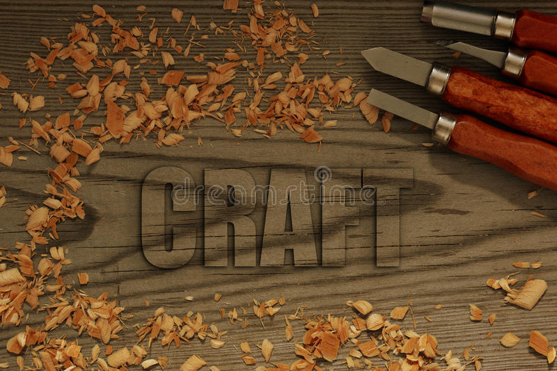 Craft carved in wood. With chisels and shavings stock photos