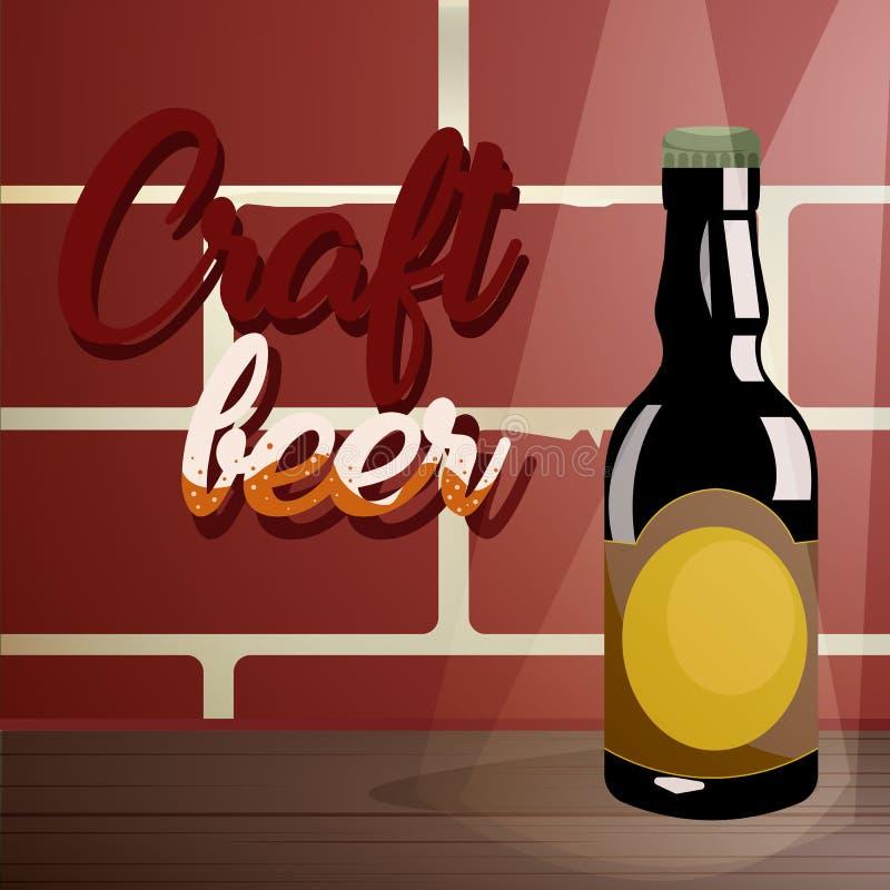 Craft a cerveja em uma tabela de madeira, perto de uma parede de tijolo ilustração royalty free