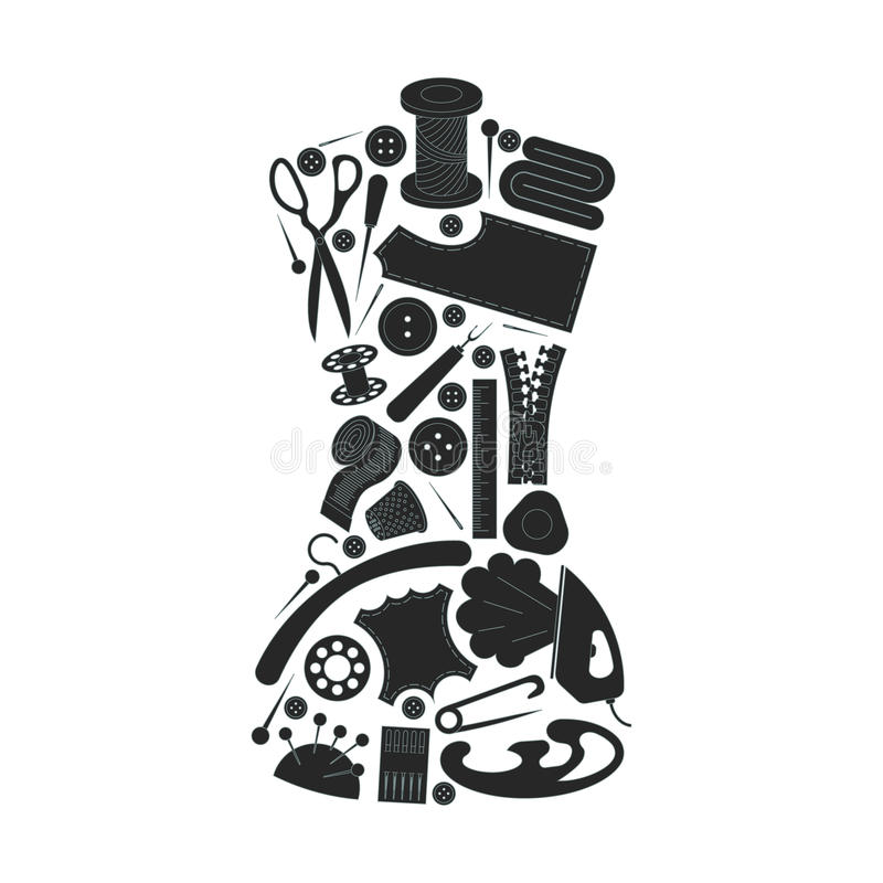 Sewing inventory. Atelier royalty free illustration
