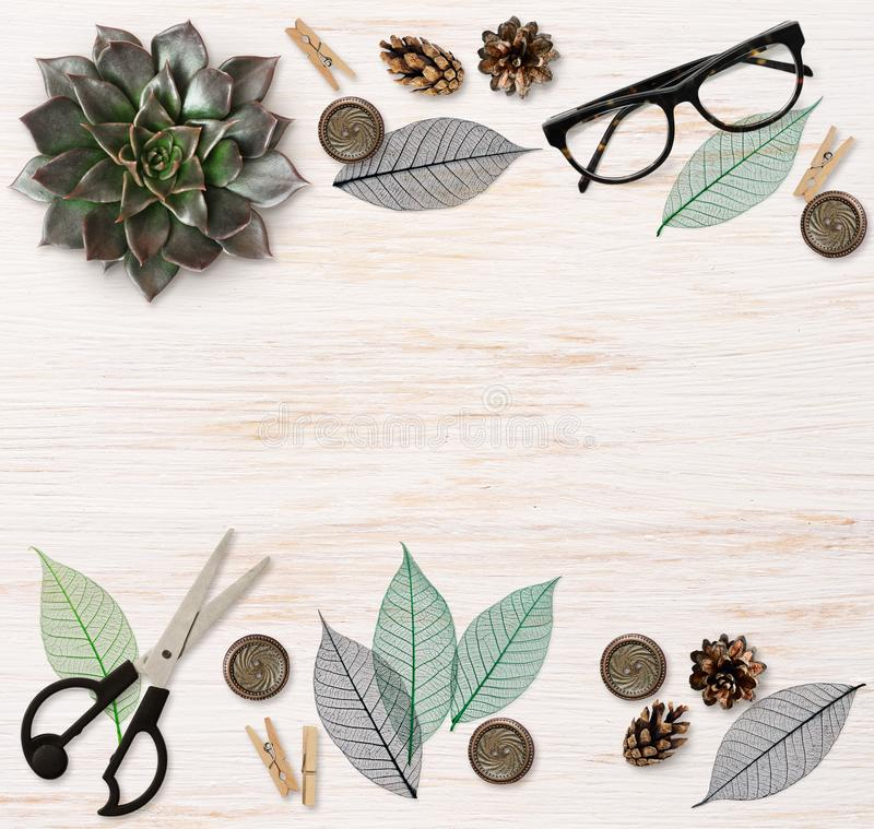 Craft elements and tools on wood royalty free illustration