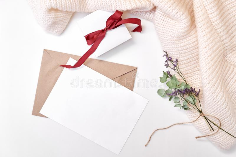 Craft envelope, paper blank, gift box with bow, knitted scarf, dried flowers and leaves on white background. Winter, holiday conce royalty free stock image