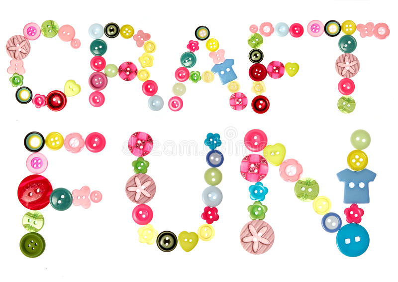 Craft fun words stock image
