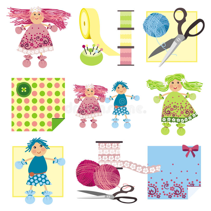Craft Icons - Rag Dolls Stock Photography