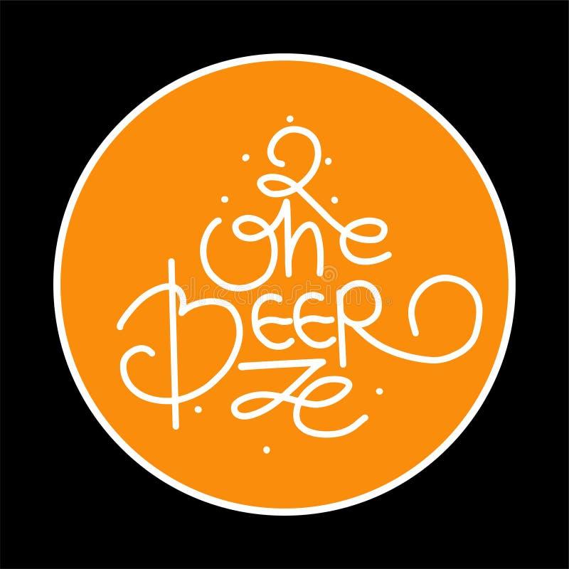 Craft a ilustração do vetor do logotipo da cerveja, projeto da cervejaria do emblema no fundo da textura ilustração royalty free