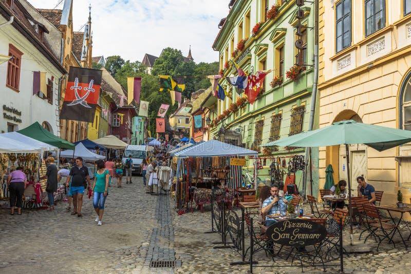 Craft market, Sighisoara, Romania stock photos