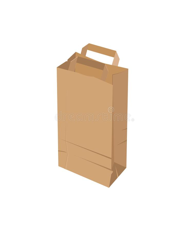 Craft paper bag on a white background. Vector illustration. Craft paper bag on a white background. Vector illustration stock illustration