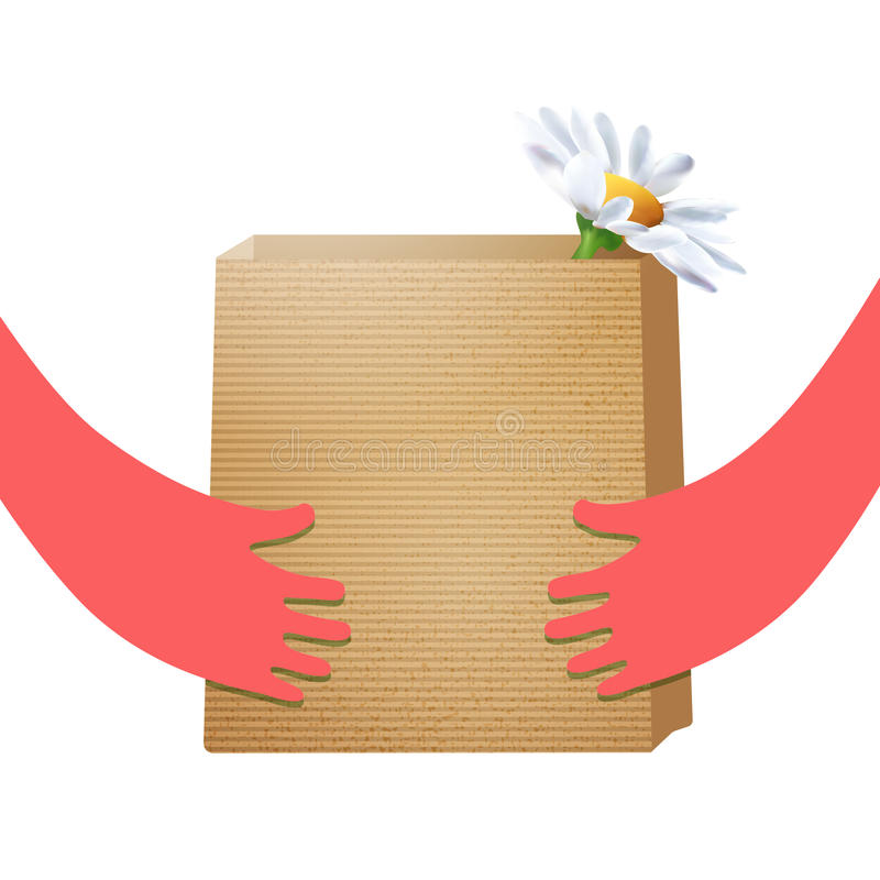 Craft paper package hold in hands royalty free illustration