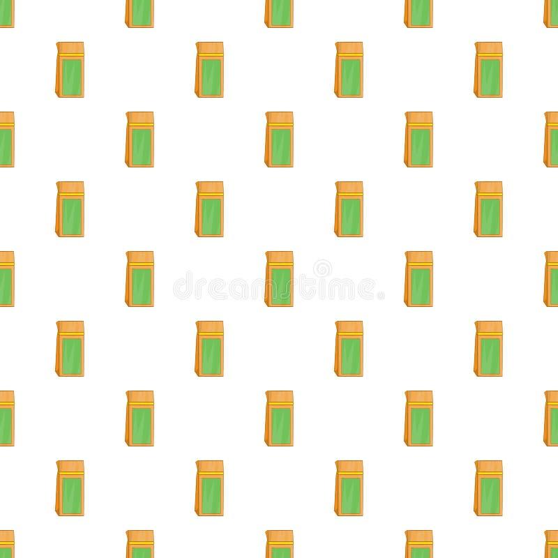 Craft paper tea pack pattern, cartoon style. Craft paper tea pack pattern. Cartoon illustration of craft paper tea pack vector pattern for web vector illustration