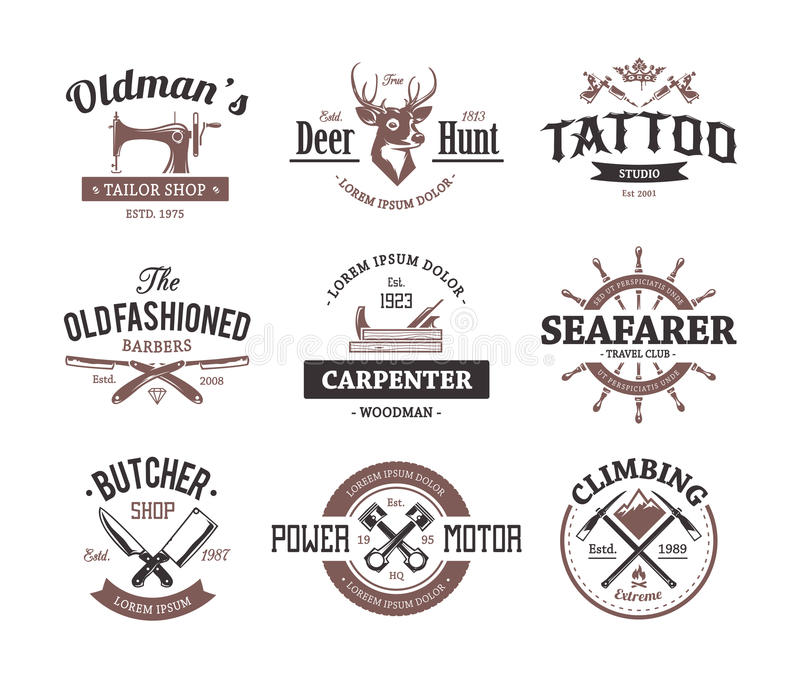 Craft Retro Emblems stock illustration