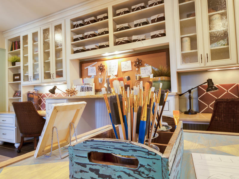 Craft room. Residential interior of modern house royalty free stock photography