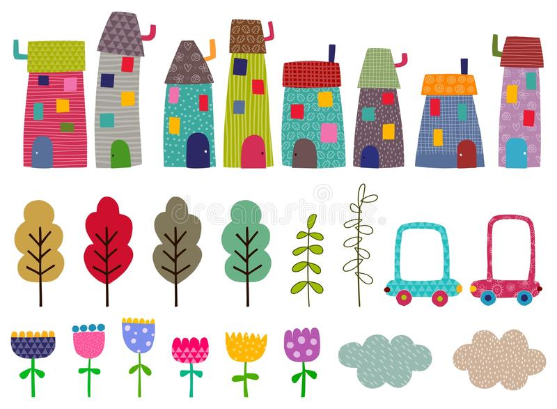 Craft set. Houses, trees,flowers. Objects for crafting over white background stock illustration