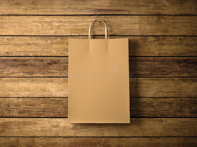 Craft shopping bag on the wooden background. In focus. Horizontal. 3d render. Photo of craft shopping bag on wooden background vector illustration