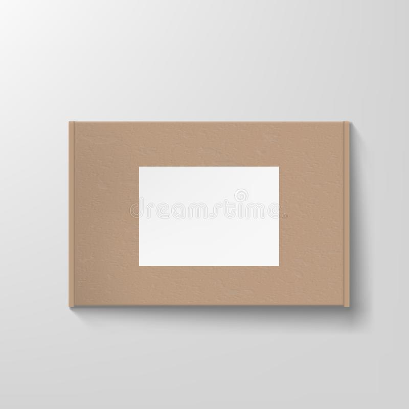 Craft Textured Cardboard Box Container Packaging With Clear White Label Template royalty free illustration