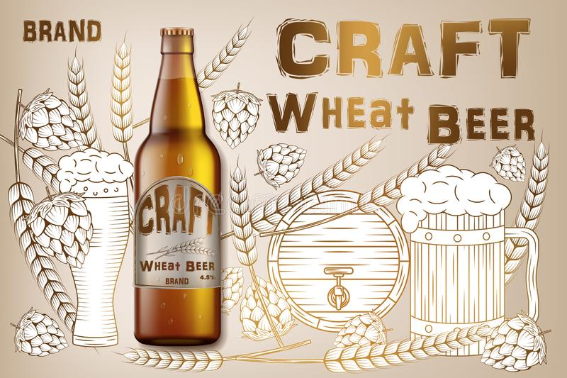Craft wheat beer ads design. Realistic malt bottle beer isolated on retro background with ingredients wheats, hops and vector illustration