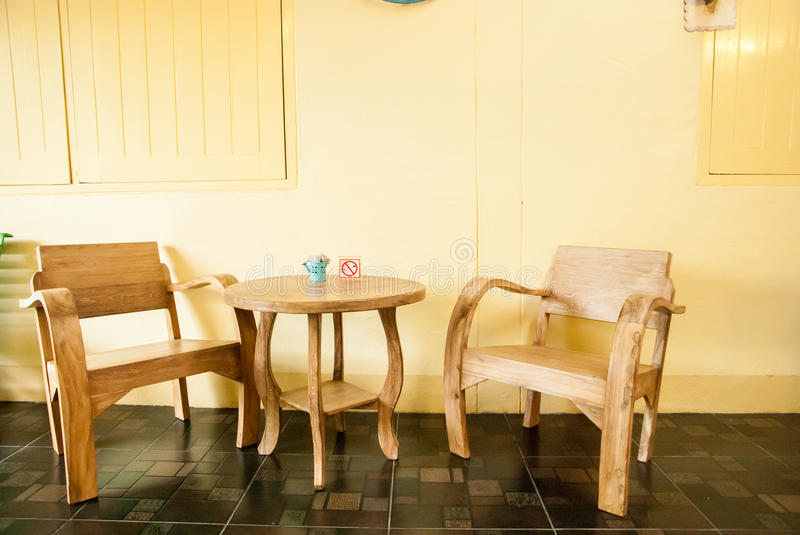 Craft wooden furniture: living room set. In hotel at Chiangkhan, Loey, Thailand royalty free stock photos