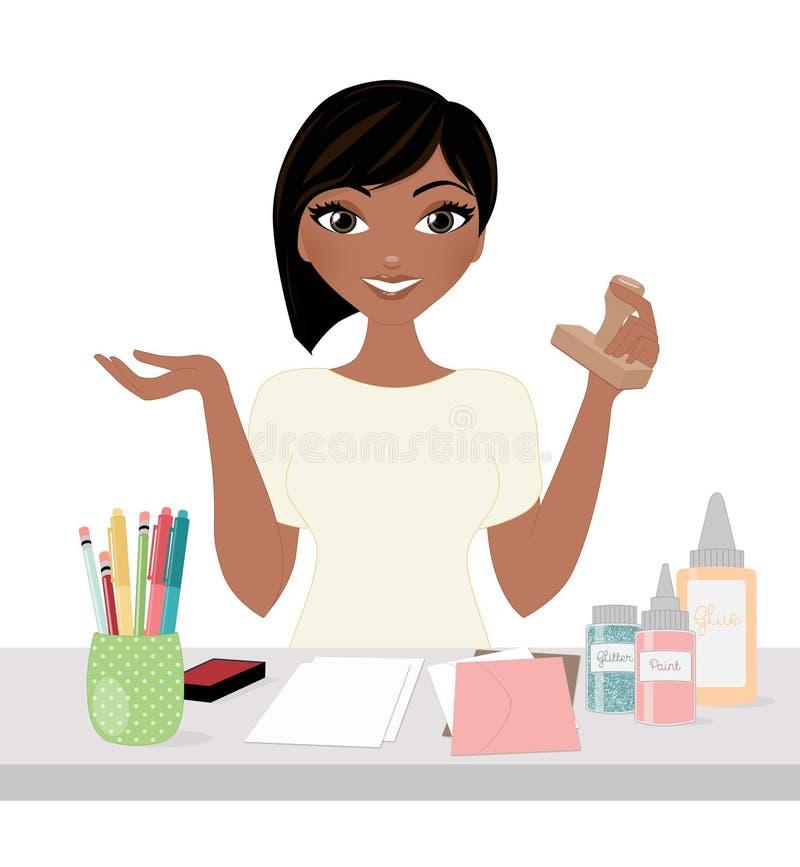 Crafter de femme au bureau de travail illustration de vecteur