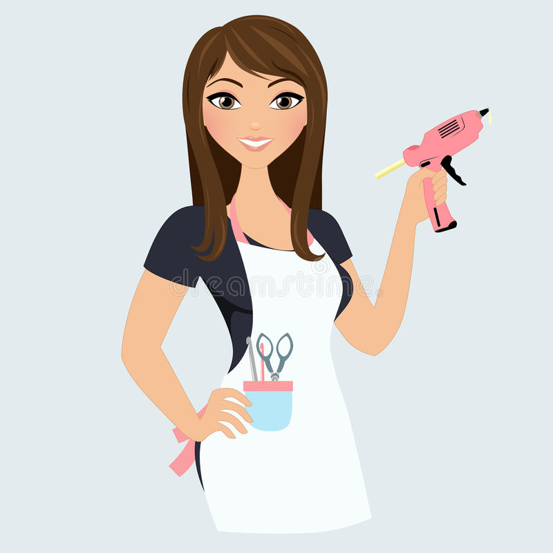 Crafter woman. Woman with crafting tools and gluegun vector illustration