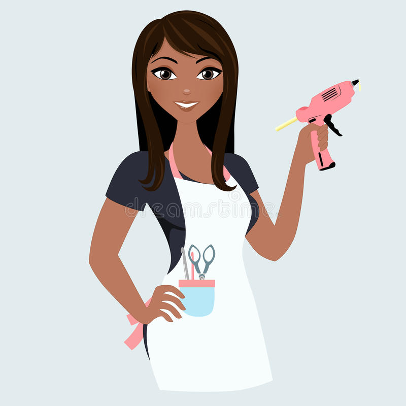 Crafter woman. Woman with crafting tools and gluegun stock illustration