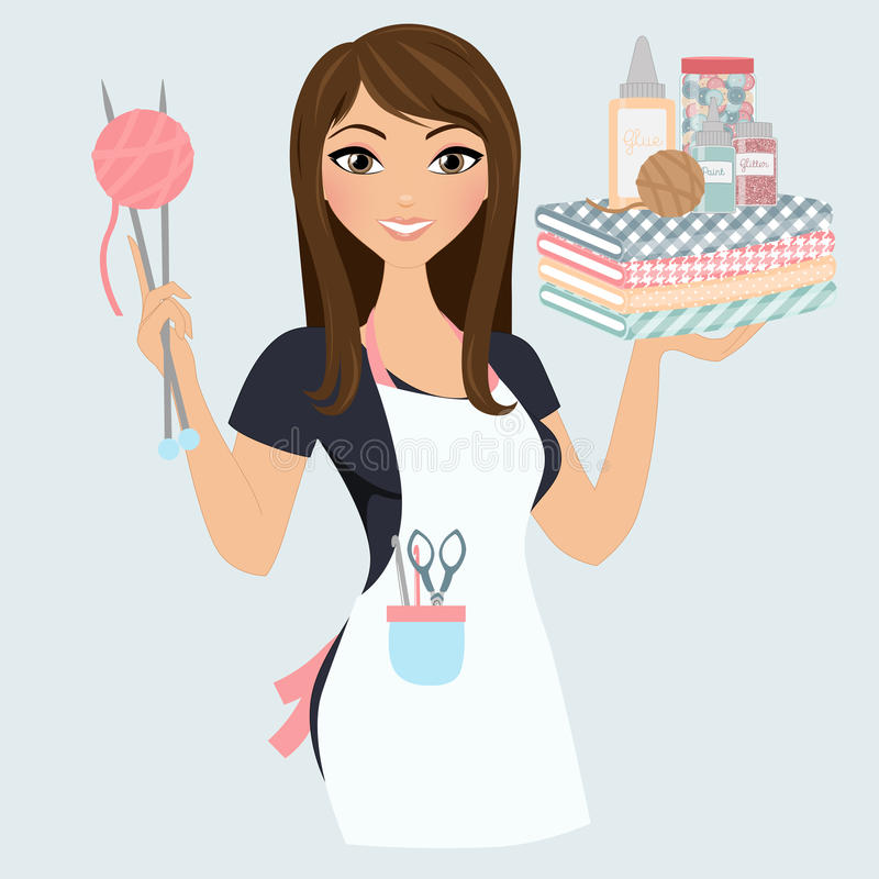 Crafter woman. Woman with crafting tools and knitting royalty free illustration