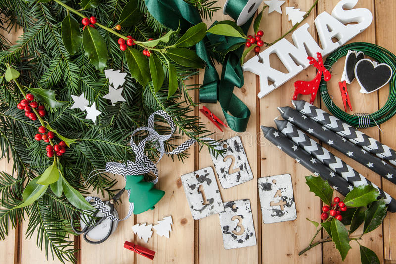 Crafting and Advent garland stock photos