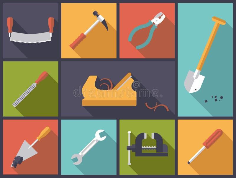Crafting a ilustração do vetor dos ícones das ferramentas ilustração stock