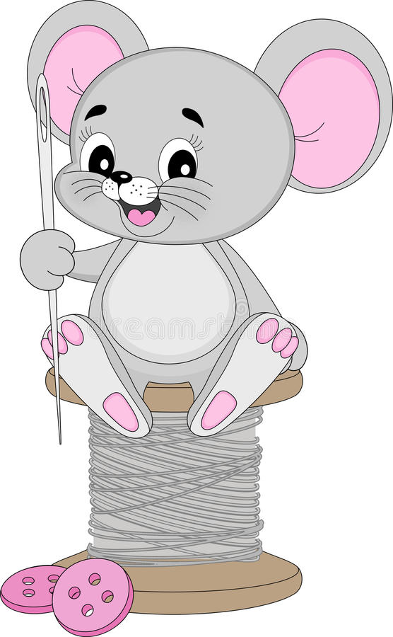 Crafting mouse with needle. An illustration featuring a crafting mouse holding a needle sitting on a spool of thread stock illustration