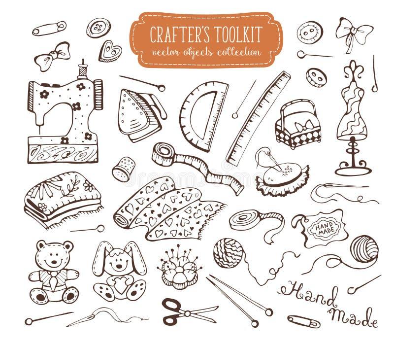 Crafting o grupo de ferramentas ilustração royalty free