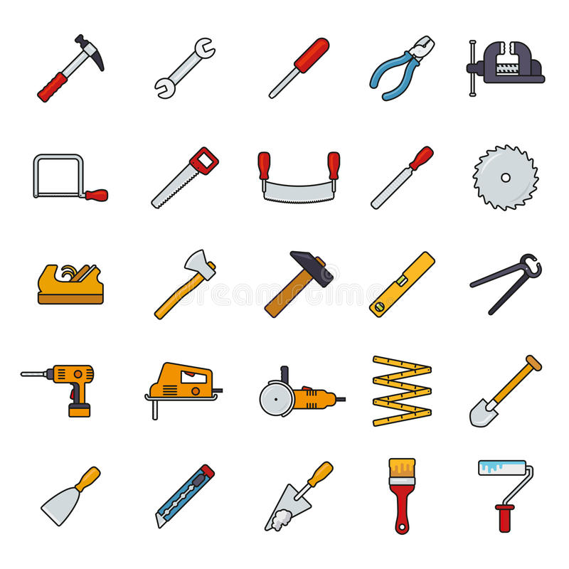 Crafting Tools Filled Line Icons Vector Set. Collection of filled line tools and crafting icons on white background royalty free illustration