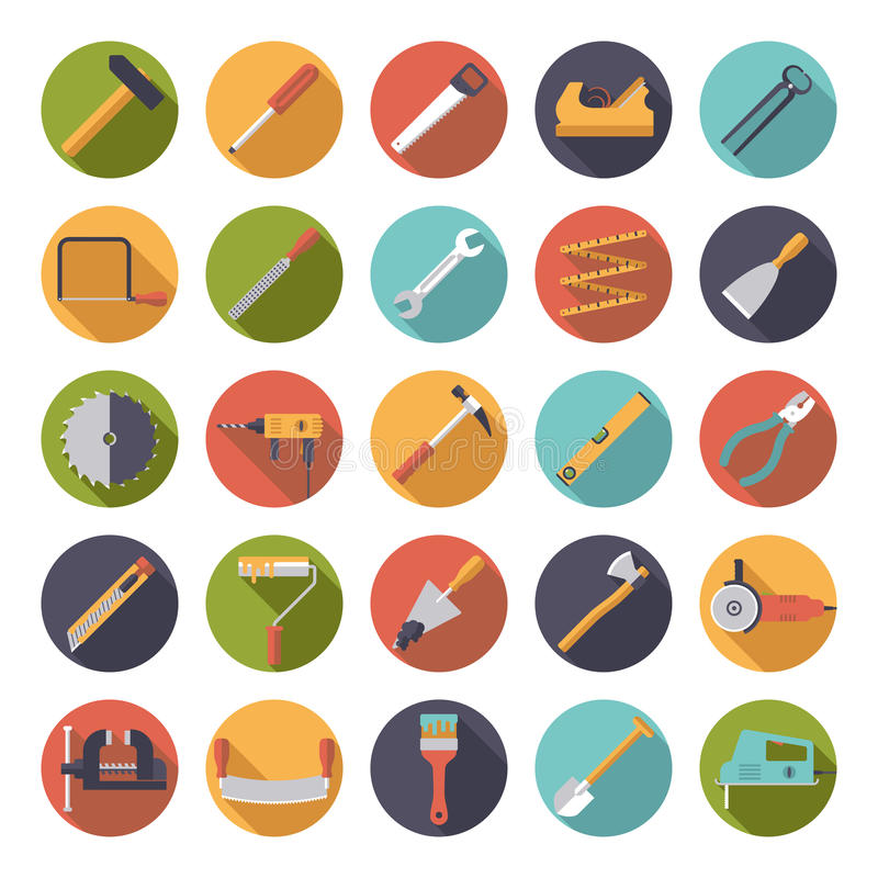 Crafting Tools Flat Design Vector Icons Collection royalty free illustration
