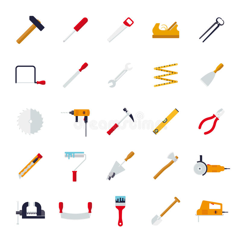 Crafting Tools Flat Design Vector Icons Collection. Set of 25 tools and crafting flat design icons isolated on white background royalty free illustration