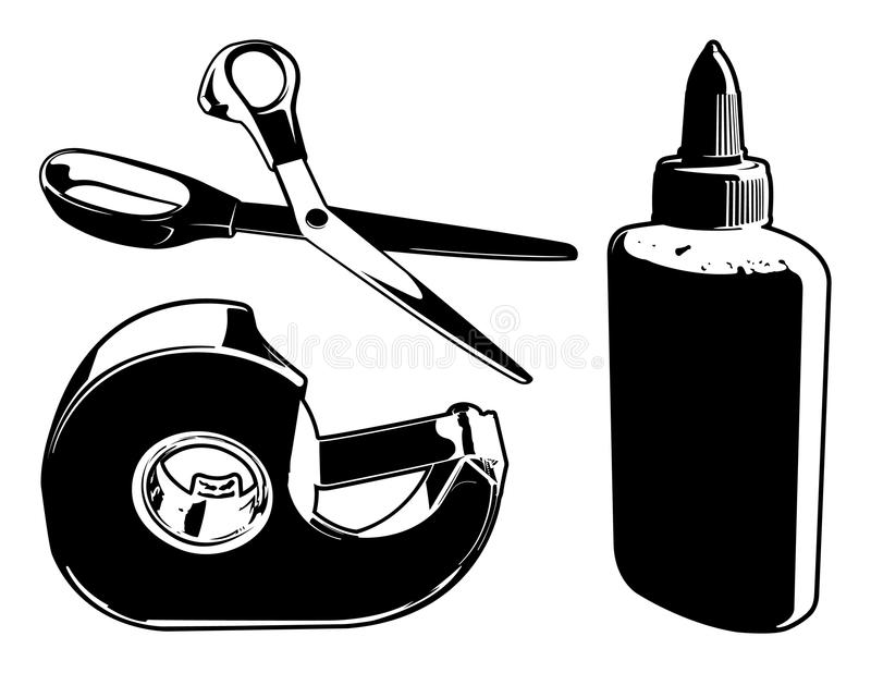Crafting Tools. Here are three vector graphics of some crafting supplies (glue, scissors, and tape stock illustration