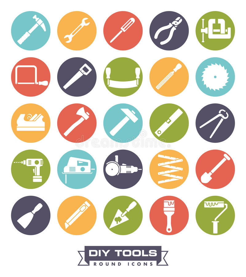 Crafting tools Round Color Icon Set. Collection of DIY and crafting tool vector icons in colored circles vector illustration