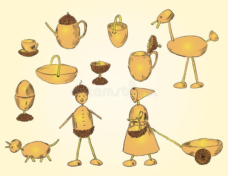 Download Crafts acorn stock illustration. Illustration of natural - 25840404