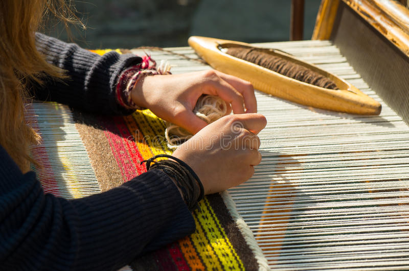 Crafts. Hand weaving loom. Crafts. Hand weaving loom with many colorful woolen threads royalty free stock photos