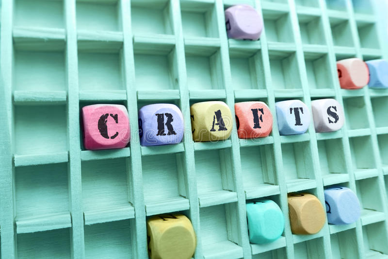 Crafts word made with building wooden blocks royalty free stock photos
