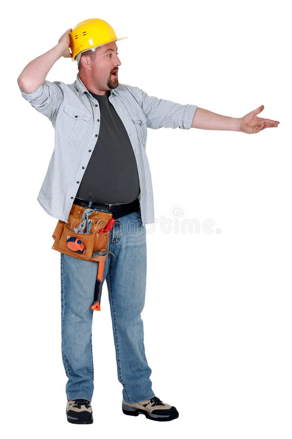 Craftsman arguing. With someone off camera royalty free stock images