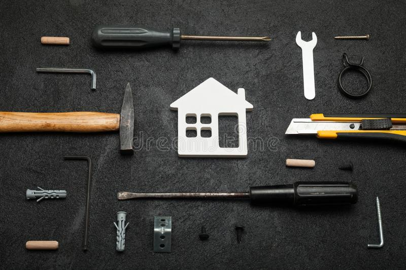 Craftsman carpentry, do it yourself concept. Home work stock images