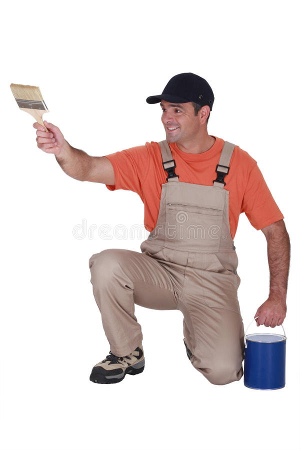 Craftsman Holding A Brush Stock Images