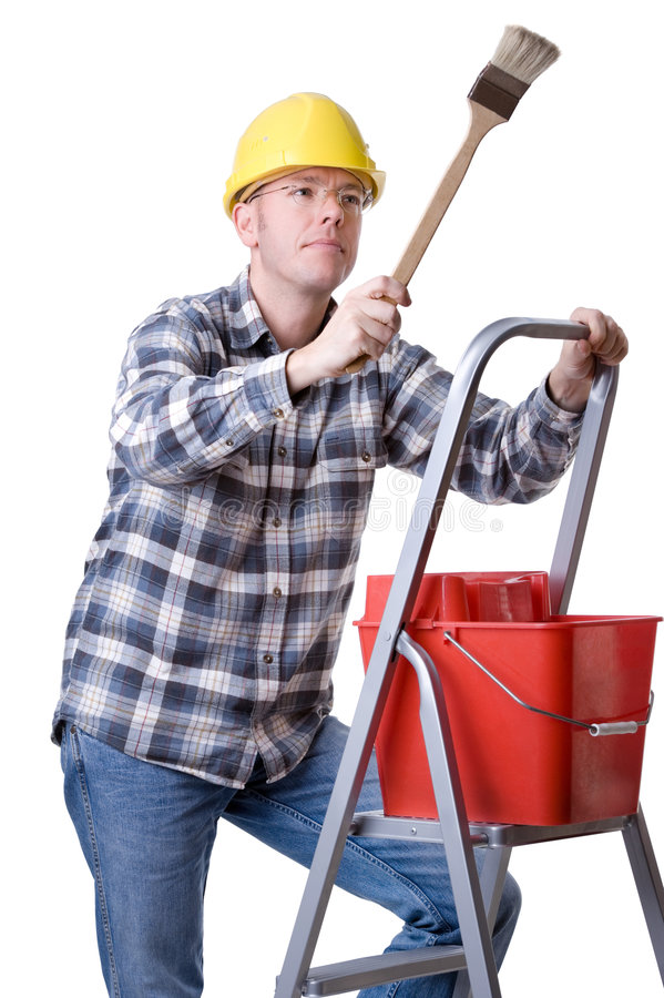 Craftsman on a ladder with a brush. Full isolated studio picture from a young craftsman on a ladder with a brush stock photos