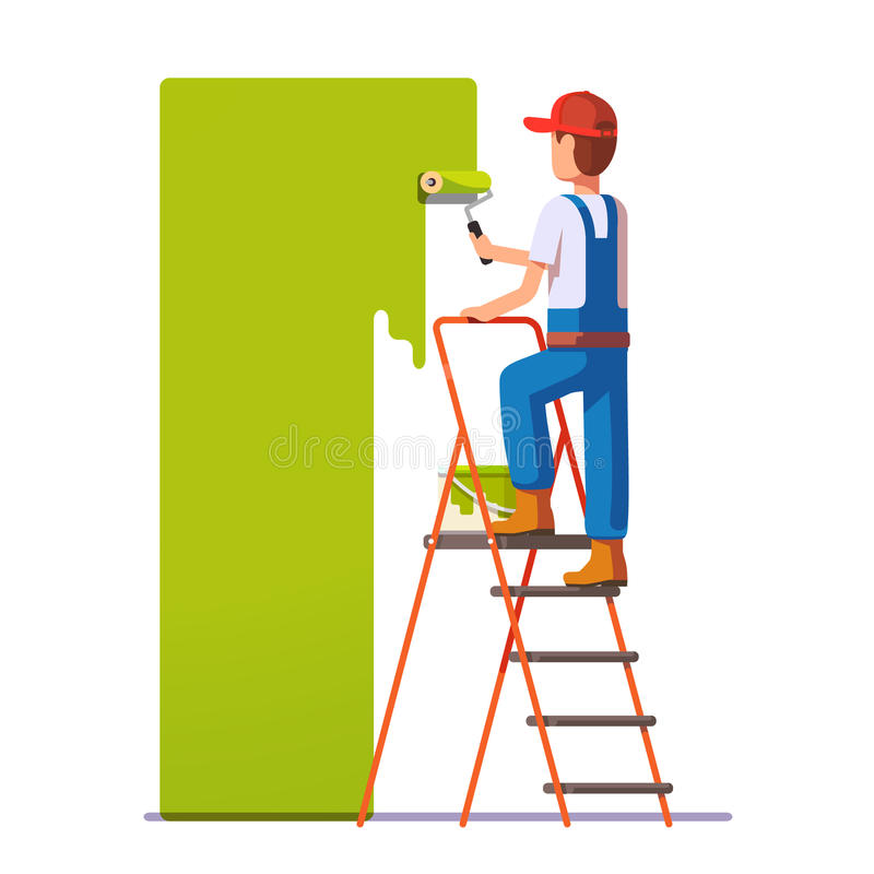 Craftsman painting white wall with roller. Green paint. Flat style modern vector illustration royalty free illustration