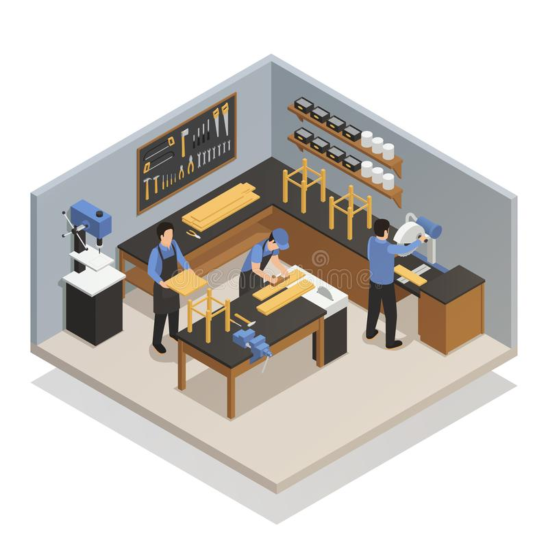 Craftsman People Isometric Composition royalty free illustration
