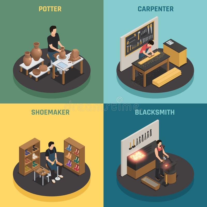 Craftsman Professions 2x2 Design Concept. With potter shoemaker carpenter blacksmith square icons isometric vector illustration stock illustration